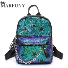 Luxury Sequined Backpack Women Bag Fashion Chains School Bags Shoulder Bags Cute Stars Backpacks For Teenage Girls 2017 Mochila(China)
