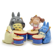 Studio Ghibli Miyazaki Hayao Totoro Musical Instruments PVC Figure Toys Drum Group Blue Totoro May Collection Model Toy Kid Gift(China)