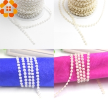 New Arrival!5Yards/Lot 2Colors 6mm Pearl Beads Cotton Double Line Chain Pearls Garland For Wedding Party Decoration  Supplies
