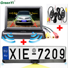 4.3'' Car monitor 2.4G Wireless CCD HD Car Parking Reverse Rear View Camera License Plate Frame Two Reversing Radar Parking Kit