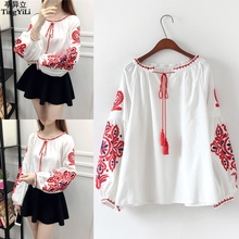 TingYiLi Cotton Linen Boho Embroidered Blouses Summer Long Sleeve Women Blouses White Blue Black Casual Loose Blouse(China)