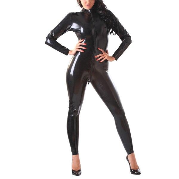 Latex Rubber Front-Zip Catsuit c