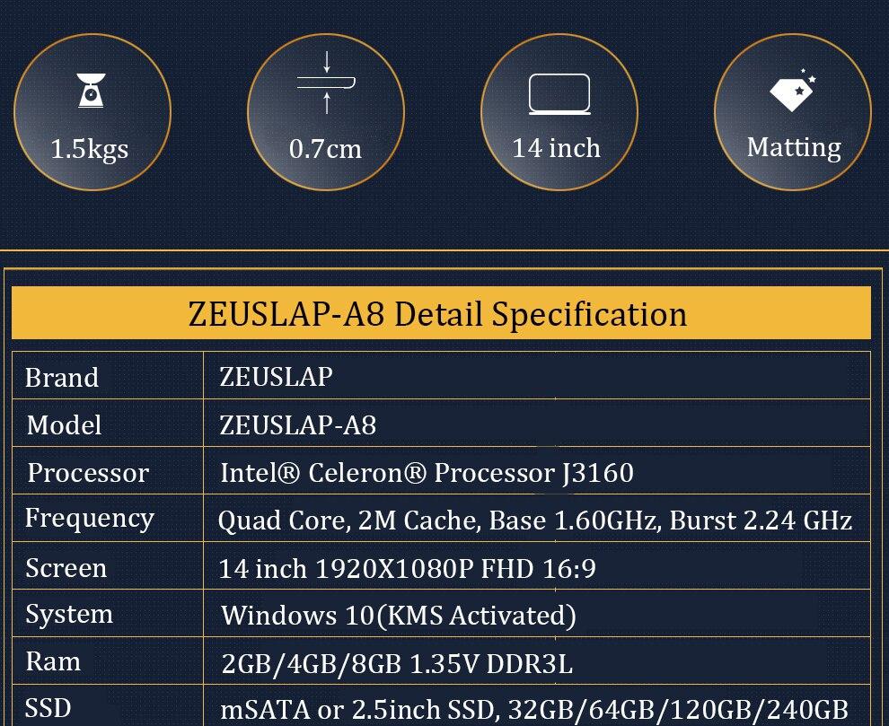 ZEUSLAP-A8 Ultrathin 4GB Ram+500GB HDD Windows 10 System Quad Core Fast Boot Laptop Notebook Netbook Computer