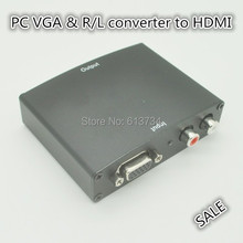 PC laptop computer Analog VGA to HDMI HDTV converter R/L stereo audio with power adpater metal case