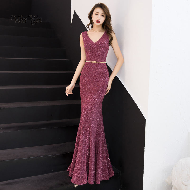 weiyin Evening Dress Long Sparkle 2019 New V-Neck Women Elegant Sequin Mermaid Evening Party Gown Dress WY977