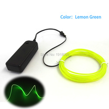 Hot! 2M 2.3mm Lemon green Neon Light Car Dance Party Decor TV Light Flexible EL Wire Rope Tube LED Strip With Controller