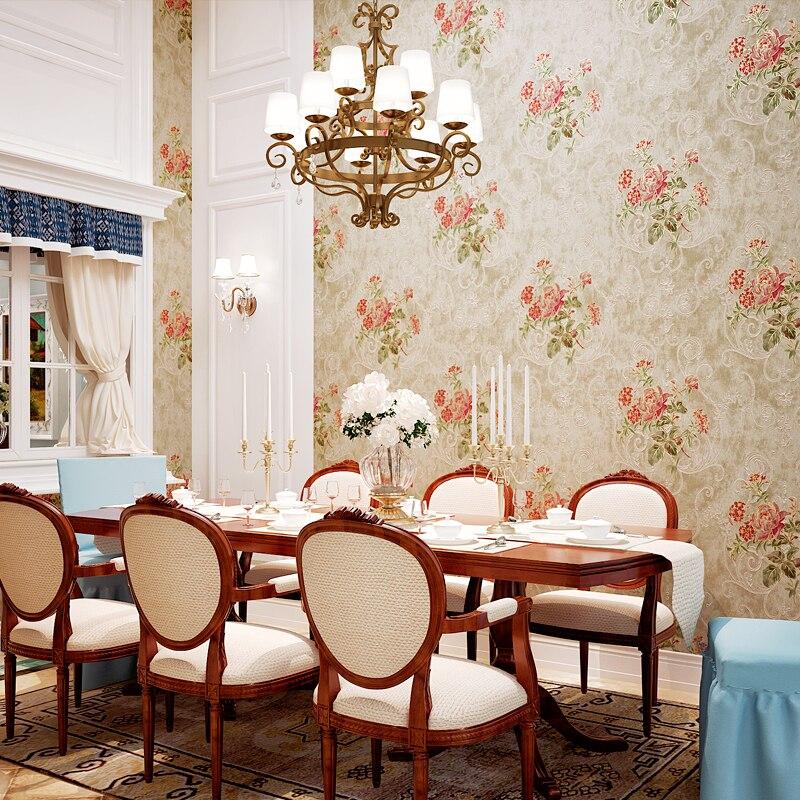 10 Meter 3d wallpaper Vintage Victorian Floral Rose/Purple/Blue flowers with Vine Decoration Wallpapers papel de parede<br>