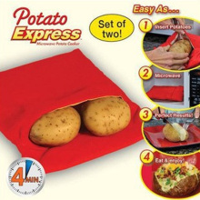 1PC Washable Potato Bag For Microwave Oven Quick Fast (Cooks 4 Potatoes At Once) Steam Pocket In 4 Minutes Easy Cooking(China)