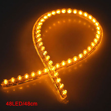AUTO 48 LED Car Strip Under Light Neon Footwell Flexible Linear - Yellow(China)
