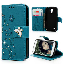Nextmall Floral PU Leather Flip Wallet Case Cover Diamond Capa For Samsung Galaxy S4 Mini S4mini I9190