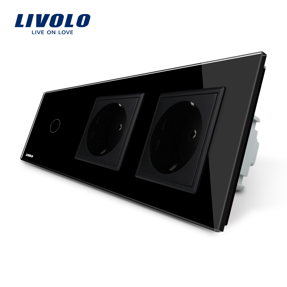 Livolo New Power Socket, AC 220~250V,Black Crystal Glass Panel, 2Gang Wall  Sockets with Touch Switch VL-C701-12/VL-C7C2EU-12<br>