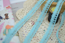 Novelty DIY 40 meters/lot Width 1.2cm Sky blue fine cotton lace fabric/Clothing accessories/Children's Accessories Wholesale