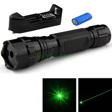 50MW 532NM WF-501B FLASHLIGHT STYLE GREEN LASER POINTER + 16340 Rechargeable battery + Charger Free Shipping