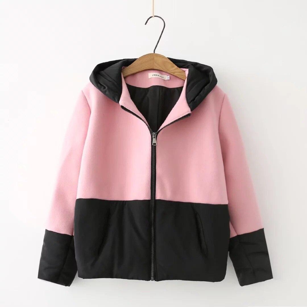Women 2017 Autumn/winter Coat Loose Casual Wild College Wind Up and Down Stitching Thick Hooded Wool Jacket FemaleÎäåæäà è àêñåññóàðû<br><br>