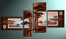 Hot Abstract Africa Tree Sun Sky Creek Oil Painting Hand Painted 4 Panel Arts Set Home Decor Modern Wall Picture For Living Room