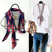 HSS Luxury Brand Fashion Style Small Print Silk Scarf For Women Striped Headband Handle Bag Ribbon Scarves Black White