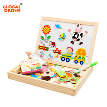 Global Drone Animal Wooden Puzzle Drawing Farm Jungle Educational Puzzle Toys for Baby Magnetic board Puzzle Drawing Toy