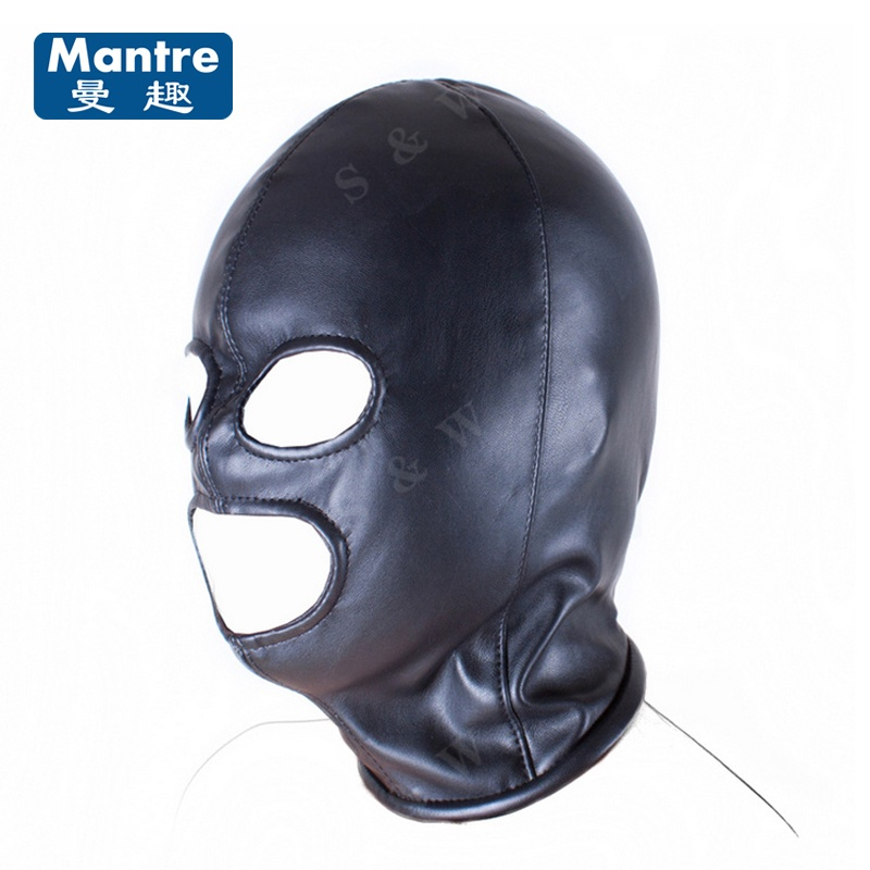 Fetish Bondage Restraint Head Harness Slave Sexy Mask 3 Hole Hood Cap Open Mouth Eyes Adult Game Sex Toys Couples