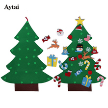 Aytai New Year DIY Felt Christmas Tree for Kid's Gift 37.5*27 inch Christmas Felt Tree Door Wall Hanging Decorations for Home(China)