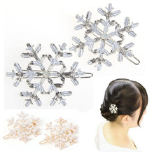 2Pcs Women Snowflake Crystal Rhinestone Hair Pin Clips Barrette Hairpins Bridal