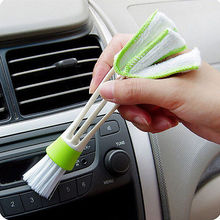 New Qualifie double Head Car Air-condition Brush Keyboard Dust Collector Window Leave Blinds Cleaner Duster Computer Clean Tools(China)