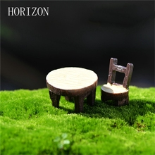 2Pcs/1 Set Desk Chair DIY Resin Fairy Garden Craft Decoration Miniature Micro Gnome Home Garden Decoration