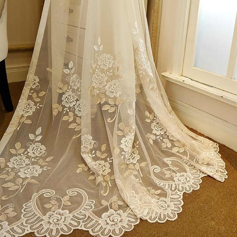 [Slow Soul] New Garden Bedroom Living Room Curtain Embroidery Tulle Leaves Curtains Sheer Cortinas Modern For Luxury  Drapes