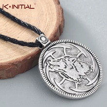 Kinitial Vintage Slavic Wolf Charm Pendant Necklace Howling Wolf Totem Pagan Slavonic Necklaces Men's Jewelry Wholesale(China)