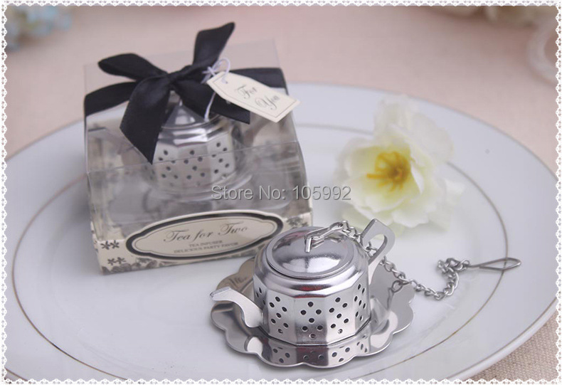 Новый Свадебный маленький заварочный чайник из нержавеющей стали ситечко для чая Ложка свадебный подарок идеи ситечко для чая 10 шт./лот(China)