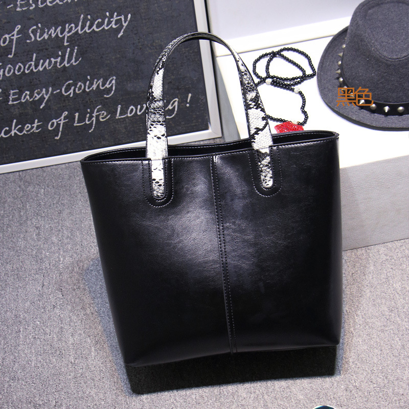 High Quality Leather Women Bag Bucket Shoulder Bags Solid Big Handbag Large Capacity Top-handle Bags Herald Fashion New Arrivals<br>