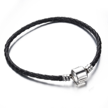 free shipping 1pc black 3mm leather with silver clip bracelet chain fit european pandora charm bracelet C007