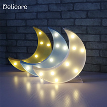 DELICORE Decorative LED Crescent Moon Marquee Letters LED Holiday Lights Nursery Night Lamp Gifts For Children Bedroom Decor
