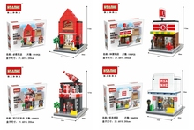 HSANHE  6412-6415 Small Blocks Street store Plastic Blocks DIY Building Bricks Micro Street Shop Model Toy Kids toys Girls Gifts