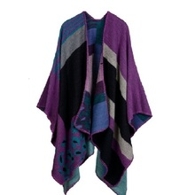 Autumn and Winter Women Imitation Cashmere Scarf Leopard Print Purple Knitted Thicken Poncho Cape Shawl Blanket Cloak