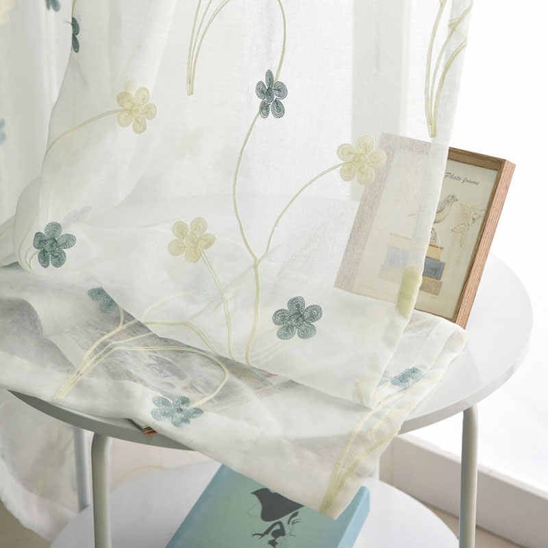 Embroidered Tulle Curtains for Living Room Flower Pattern Pastoral Bedroom Decorations Sheer Curtain Single Panels