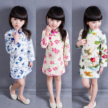 2016 Chinese Style Cotton Flowers Mandarin Collar Children's Cheongsam Long Sleeve Dress For Girls Clothes Baby Clothing Dresses