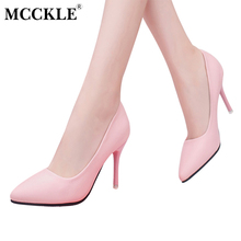 Buy MCCKLE Women's Pointed Toe Fashion Sexy High Heels Female Comfortable Slip Black Shoes Ladies Office Plus Size Pumps for $15.16 in AliExpress store