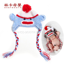 Cute Crochet Monkey Hat Newborn Baby Photo Props Toddler Photography Props For 1-12 Month Baby