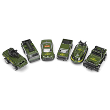 6pcs Mini Vehicle Die-Cast Model Car 1:64 Scale Children Toys Tank Car Yachat Pickup Truck Jeep Fire Engine Kids Xmas Gifts(China)