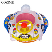 COZIME Inflatable Baby Swimming Accessories Circle Rings Cartoon Motor Car Boat With Steering Wheel Raft Float Toys Boat(China)
