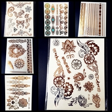 25 Style Paisley Waterproof Gold Temporary Tattoo Stickers Silver, Women Body Art Flash Metallic Tattoo Henna Flower Tatoo Lion