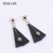 ROSE LIFE Fashion Earrings Wild Wood Wood Small Metal Ball Long Paragraph Earrings Jewlery For Women(China)