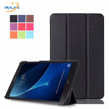 "Ultra Slim 3 Folder Folio smart Stand PU Leather Cover Case For Samsung Galaxy Tab A 10.1 2016 T580 T585 10.1"" Tablet + film+pen(China)"