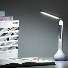 Foldable Dimmable Led Desk Lamp Table Light  with Calendar Temperature Alarm Clock Atmosphere Colors Changing Book Light