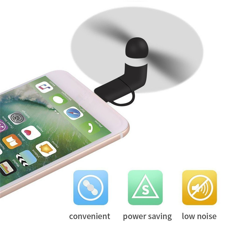 BinFul 100% tested Mini 2 in 1 Portable Micro USB Fan For iPhone 5 6S 7 Plus 8 X XS XR Fan for Samsung HTC Android OTG phones