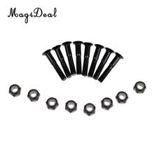 MagiDeal Wholesale 8Pcs/ Set Black Nail Deck Bolts Cruiser Longboard Skateboard Hardware 8 Nut & 8 Screw Supplies 22mm/28mm/35mm