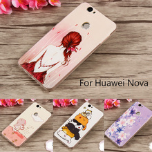 TPU Phone Case For Huawei Nova Cute 3D Soft Silicone Cat Flowers Case For Huawei Nova 5.0inch Phone Conque Para Girls Lemon Skin