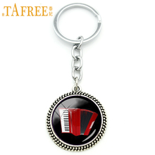TAFREE Vintage elegant red accordion art pendant keychain music instrument key chains jewelry music lovers Christmas gift KC494