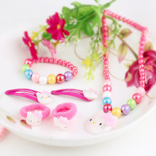 Children Accessories 1Set=6pcs Kitty Cat Necklace Cute Hairpins Ring Gun for Hair scrunchy Baby Girl Kids Hair Jewelry Bracelet