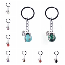 2017 new natural stone Purple stone black porte clef floats key ring frog prince classic cartoon image of small jewelry
